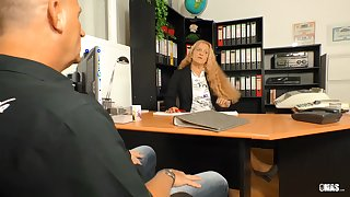 XXX OMAS - Blonde German granny Beate G. needs a hard cock at the office