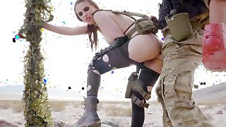 Anal beauty works army man in superb outdoor scenes