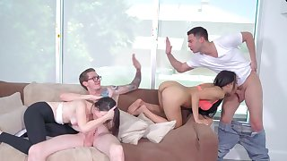 Crazy foursome porn special with two lovely girlfriends