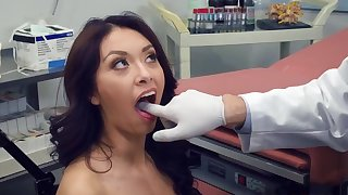 Tight brunete fucked by the doc and jizzed on face