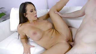 Brunette woman with big tits amazing sex with her step son