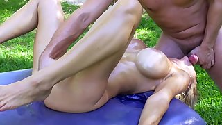 Back yard extreme sex with amazing blonde Alexis Fawx