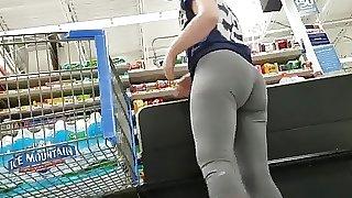 Brunette Sex .Booty Grey Leggings