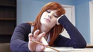 Cute redhead coed gets a lesson