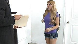 Teacher puts his fat cock into tight schoolgirl