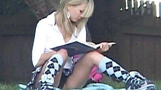 Schoolgirl Kasia showing off