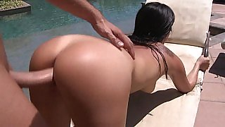 Tan asian hottie Asa Akira having sex by the pool