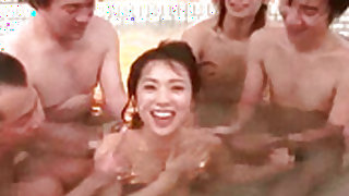 Wonderful blowbang from cute Japanese chick during bath time
