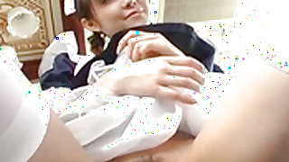 Pretty Asian maid, Natsumi exposes hot pussy for fingering Video 2