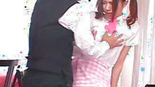 Young asian maid in uniform is having real hardcore sex