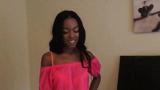 Ebony girlfriend anally screwed on all fours