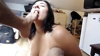 Nasty wife gives rimjob and licking feet