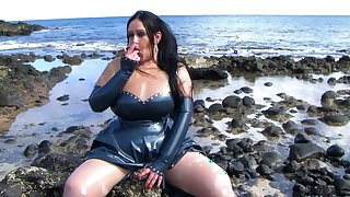 Mystic Latex Lady - Public Blowjob Handjob on the Beach - Cum on my Latex Shirt Gloves