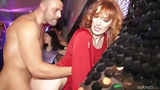 Vixenish babe in high heels gets pounded hardcore in a groupsex party at a club