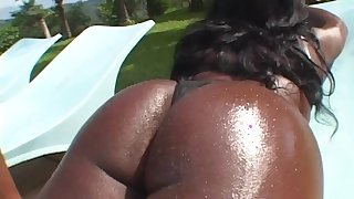 Vixenish and chubby ebony with long hair with natural tits getting a loving anal drill in a hot pool action