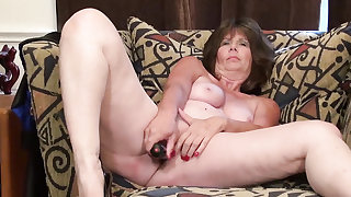 Europe Mature Jade is playing with herself on the staircase with dildo