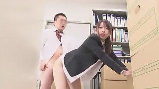 Crazy Japanese model Rui Saotome, Misaki Tsukishima in Amazing Secretary JAV movie