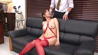 Exotic Japanese girl Chihiro Akino in Fabulous stockings, couple JAV video