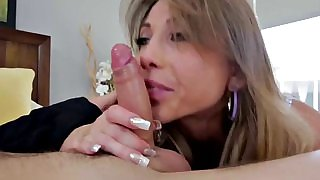 Milf cant resist her bfs sons dick and give it a blowjob