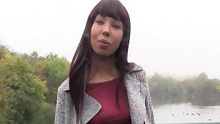 Ebony beauty bangs for cash outdoor