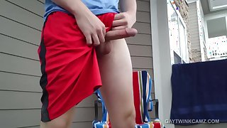Amateur Twink Patio Jerk Off