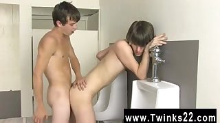 Twinks having sex in public toilet