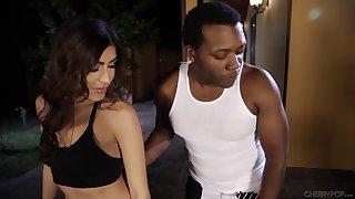 Audrey Royal is curious about a black man's fat boner