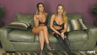 Hotties Britney Amber and Val Dodds get completely naked and fuck