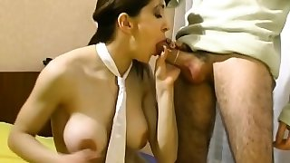 Busty brunette step mommy gives head to big rod
