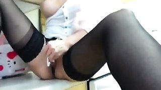 Saffy British blonde teasing solo stocking heel show