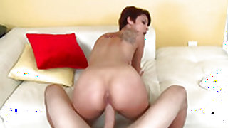 Brunette Tessa Arias with hairless beaver exposes her naughty bits as she gets