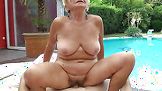 Mature with big jugs gets cum