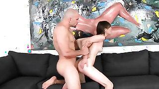 Brunette is in heat in cumshot sex action