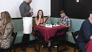 Brunette Damon Dice with huge boobs and clean beaver has