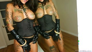 Three cocks for heavily tattooed Bonnie Rotten